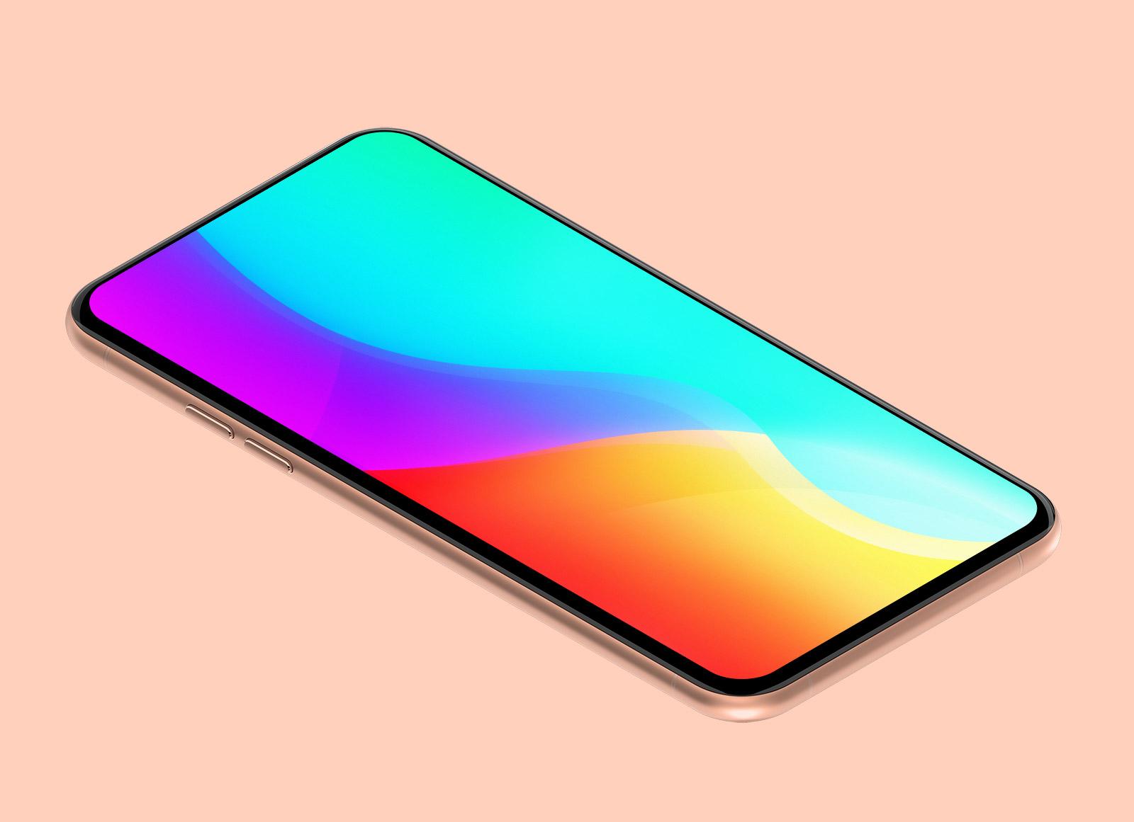 Free Generic Isometric Smart Mobile Mockup PSD - Good Mockups