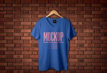 Free-Half-Sleeves-V-Neck-T-shirt-Mockup-PSD