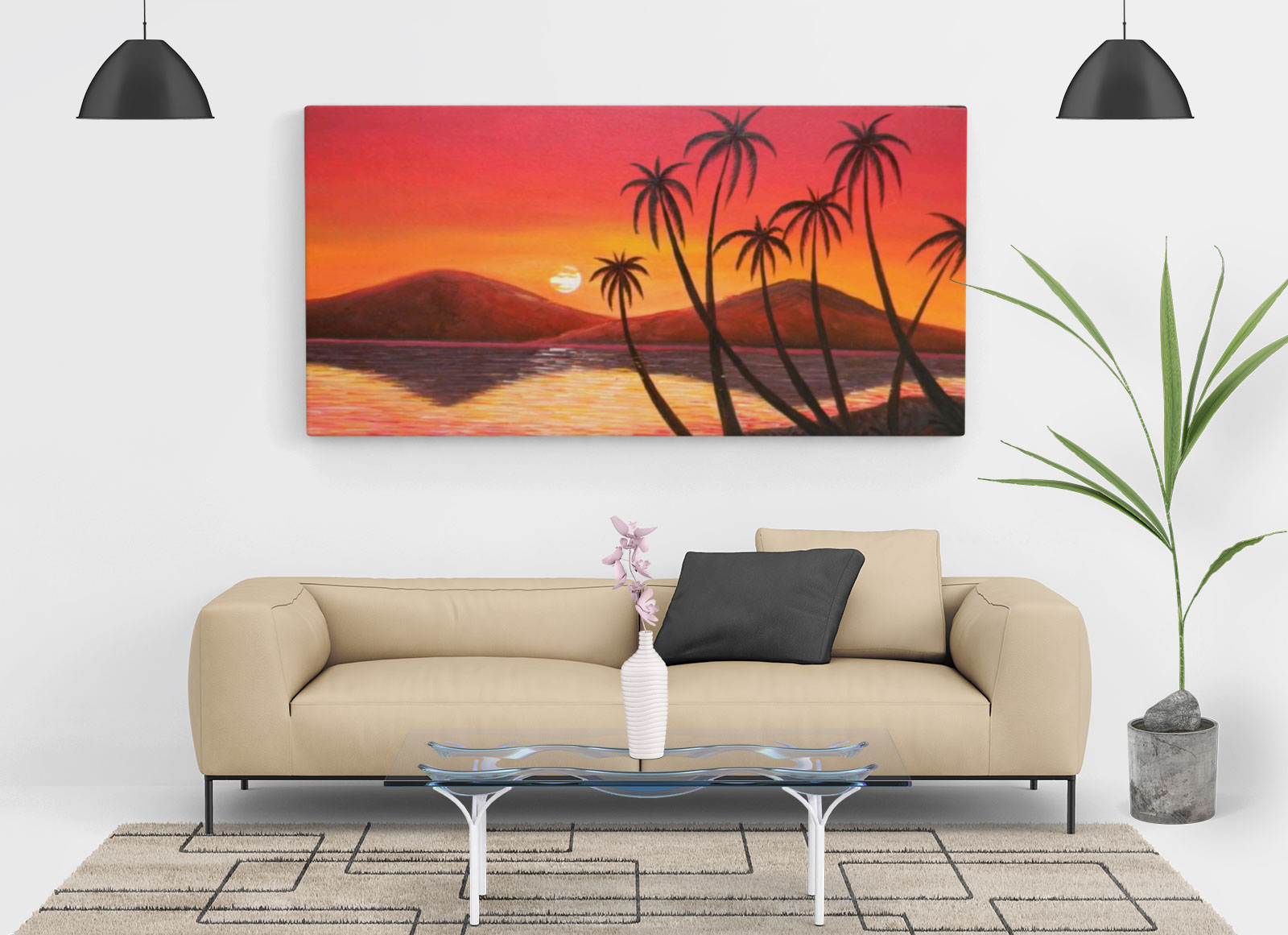 Free Living Room Painting Wall Canvas Mockup PSD