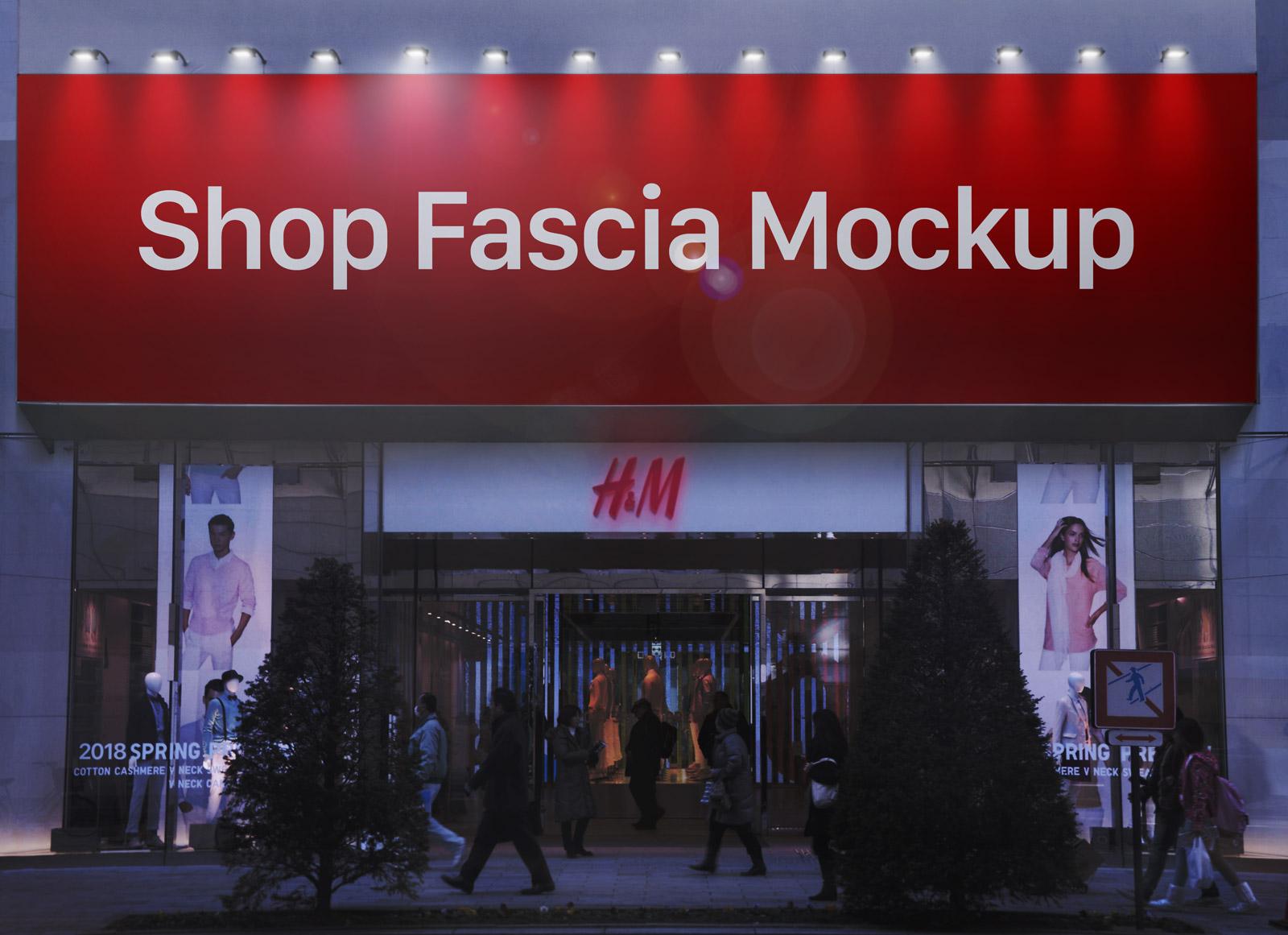 Free Wall Mounted Shop Fascia Billboard Mockup Psd Good