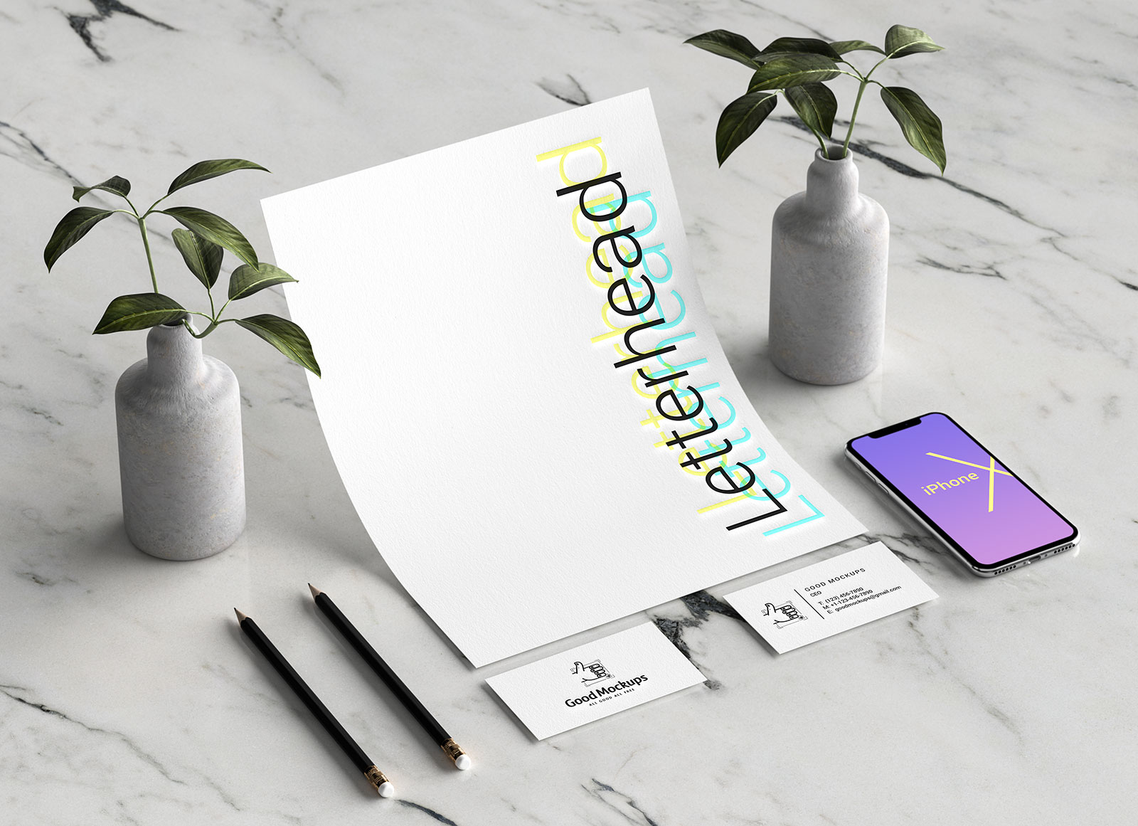 Free-Letterhead,-Business-Card,-iPhone-X-Stationery-Mockup-PSD