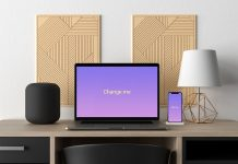Free-Modern-Macbook-Pro-&-iPhone-X-on-Workplace-Mockup-PSD