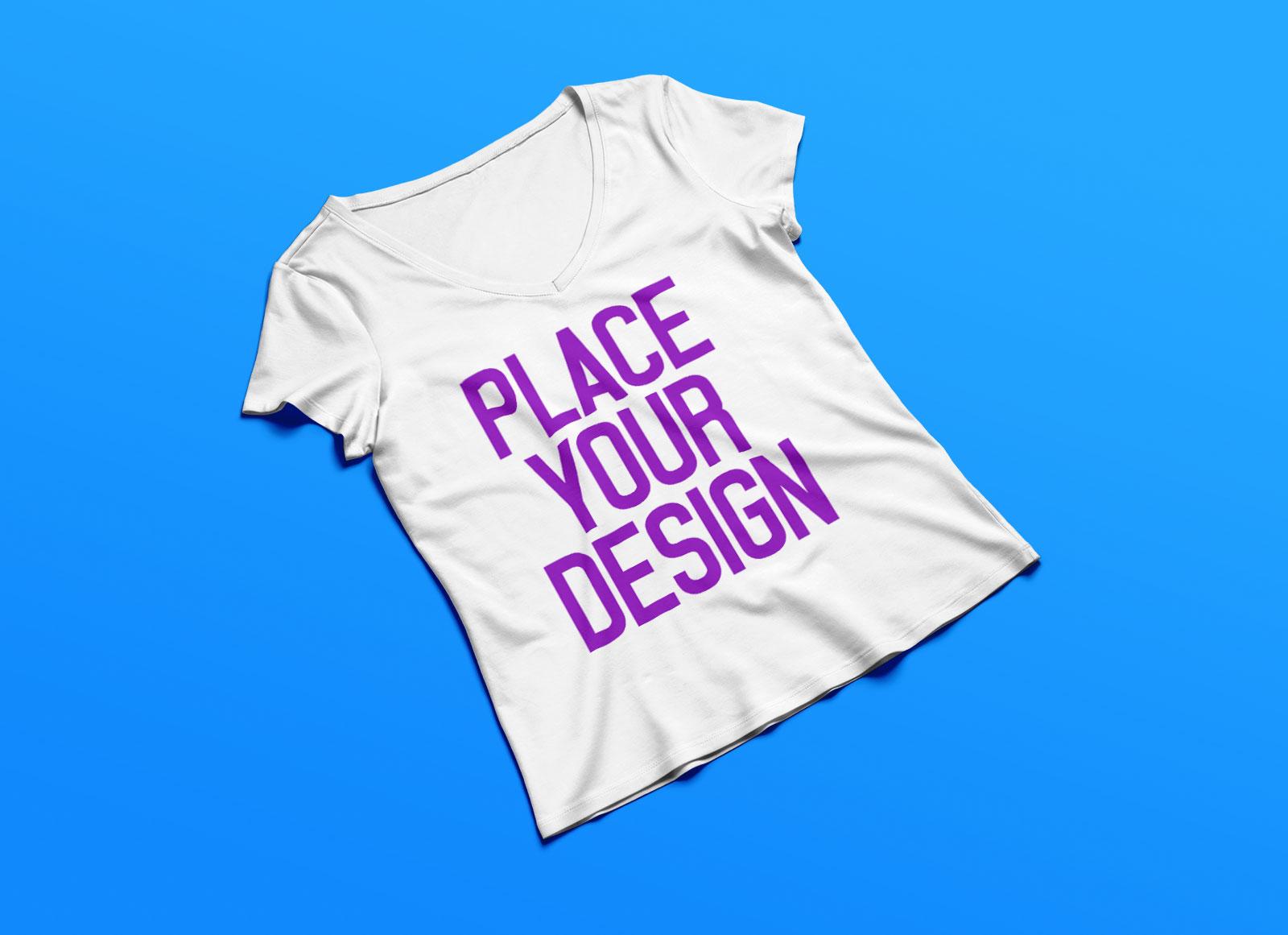 Free-Women's-V-Neck-T-shirt-Mockup-PSD