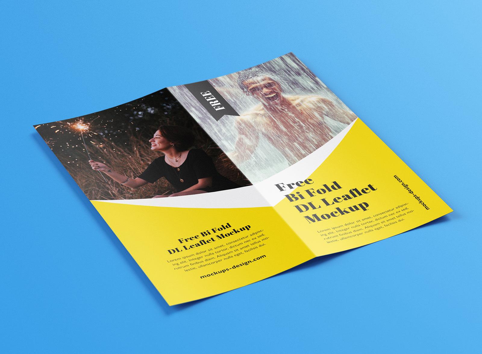 Free Bi-Fold Leaflet Brochure Mockup PSD Set (6)