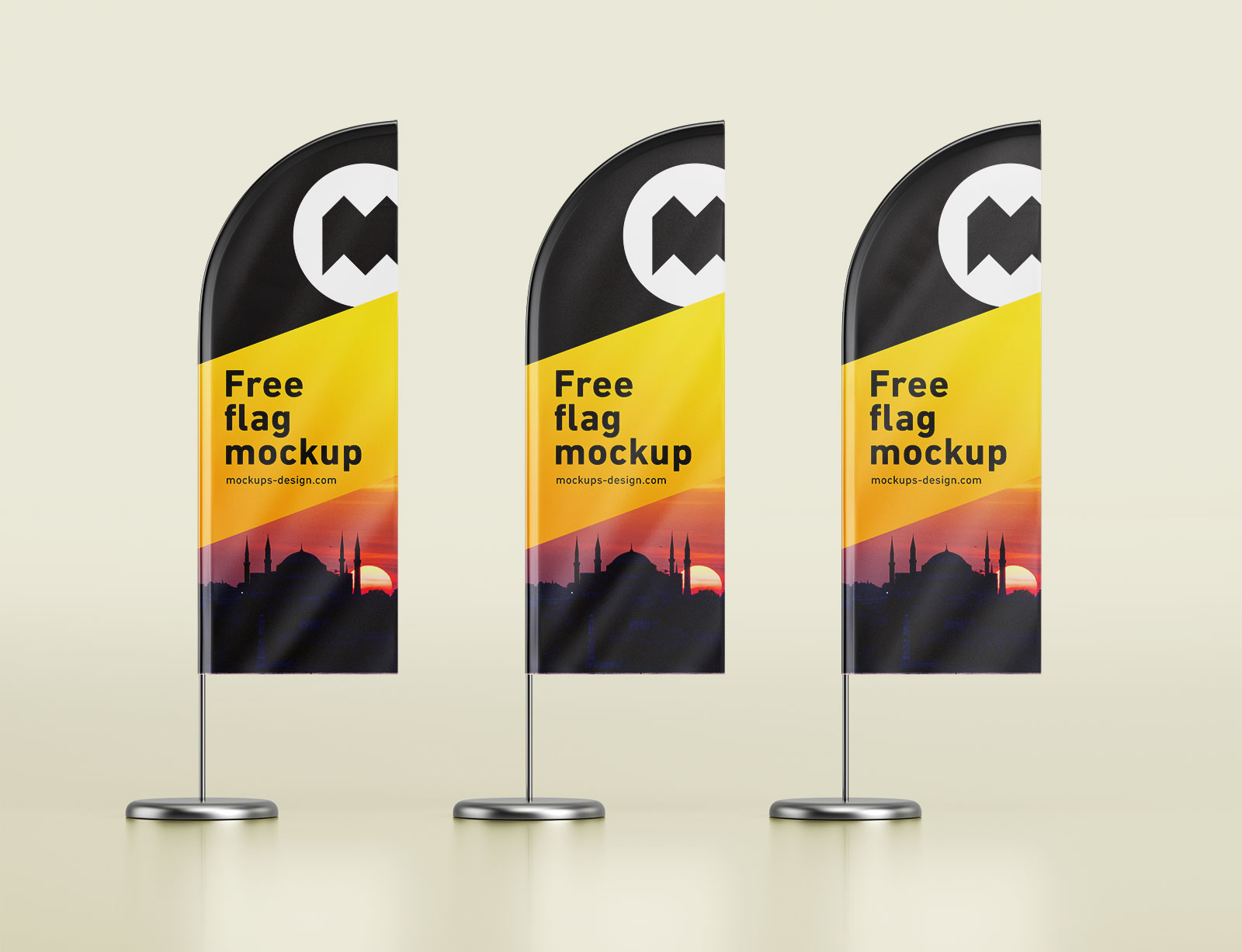 Free Feather Flag Banner Stand Mockup PSD Set - Good Mockups