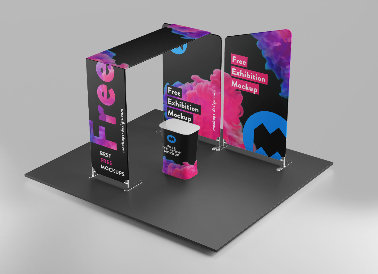 Free Pop Up Exhibition Stand Mockup : Free trade show exhibition display booth stand mockup psd
