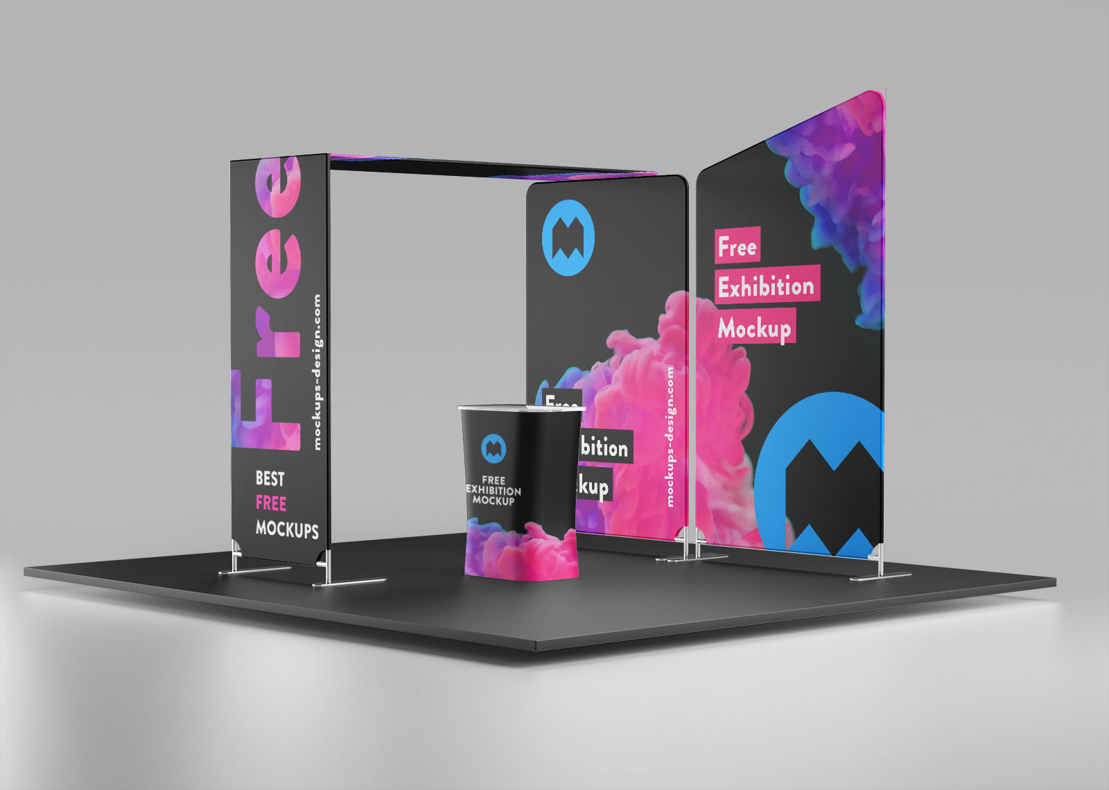 Trade Exhibition Stand Mockup Free : Free trade show exhibition display stand mockup psd set