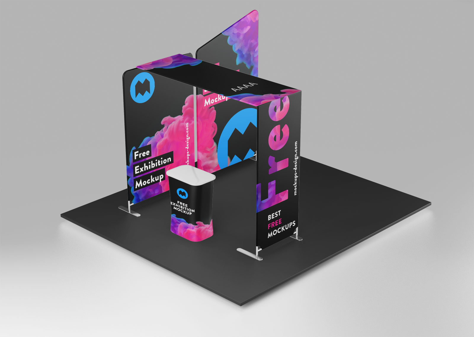 Exhibition Stand Mockup Free : Free trade show exhibition display stand mockup psd set