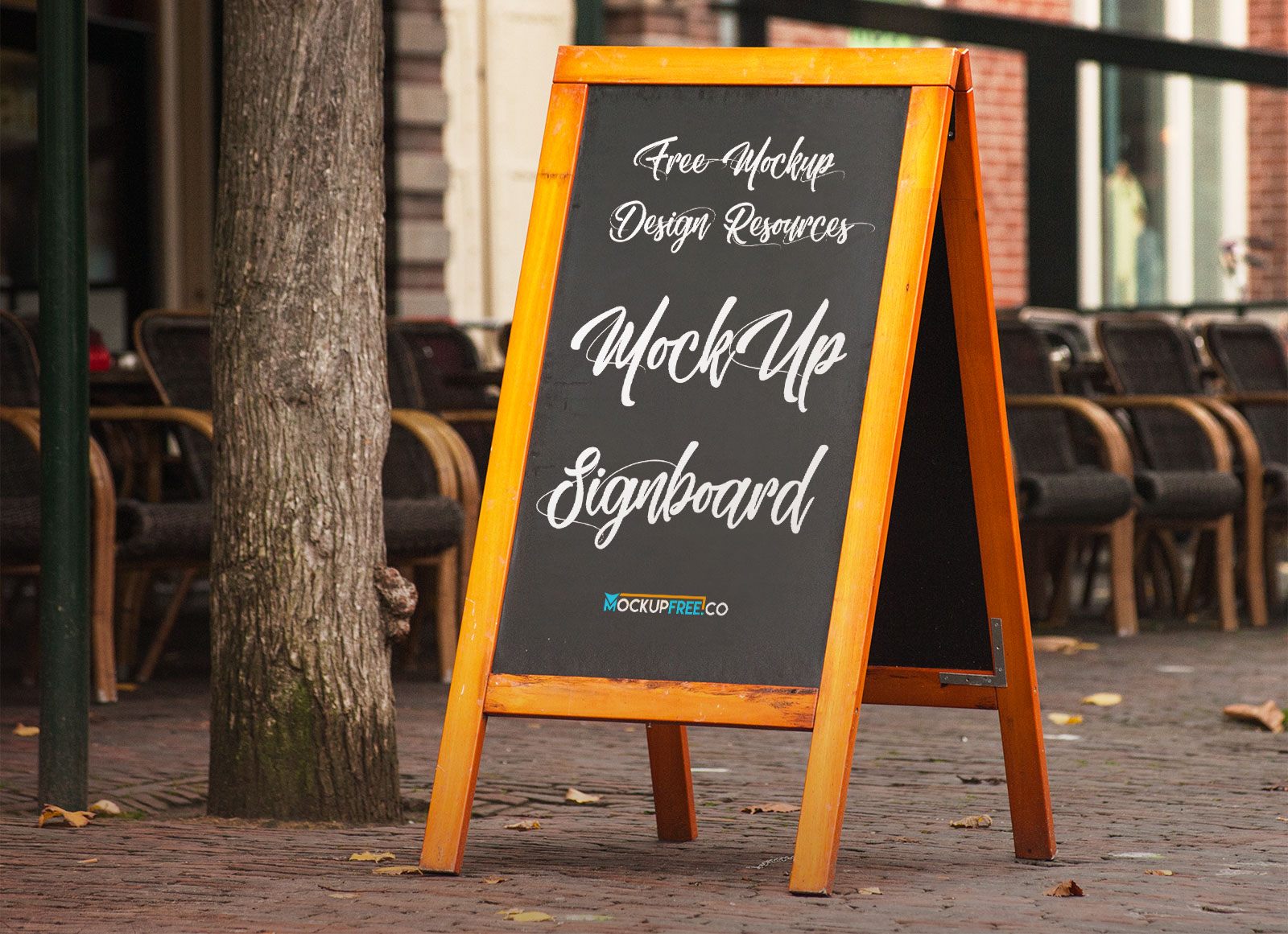 free a-stand wooden chalkboard mockup psd