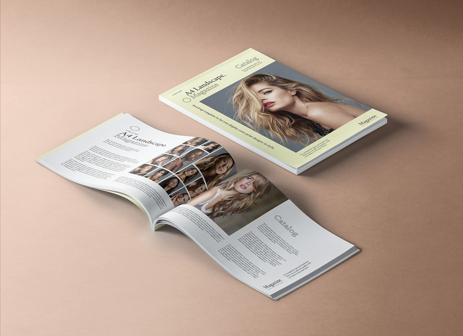 Free-A4-Landscape-Title-&-Inner-Pages-Magazine-Mockup-PSD