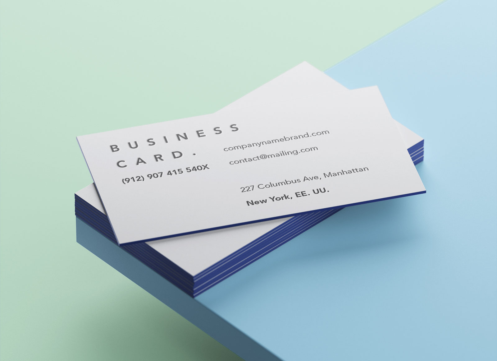 Free Colored Edge Business Card Mockup Psd 2