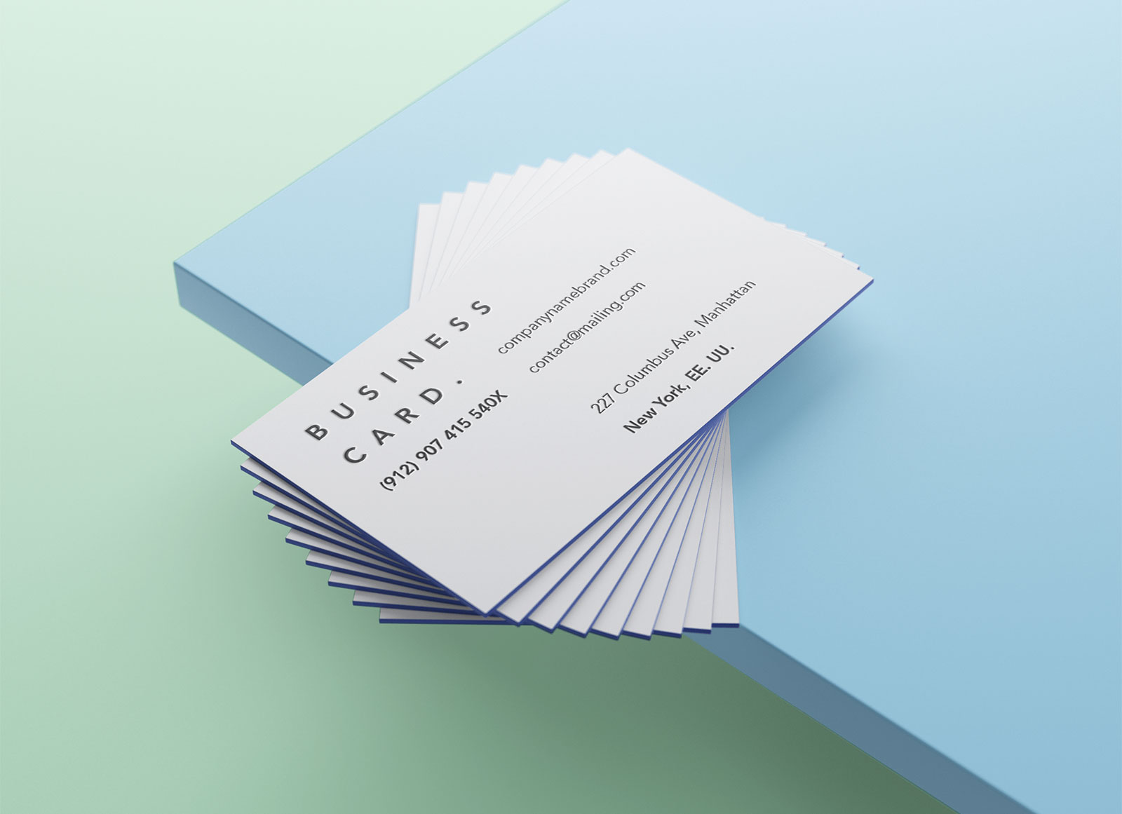 free colored edge business card mockup psd - Colored Edge Business Cards