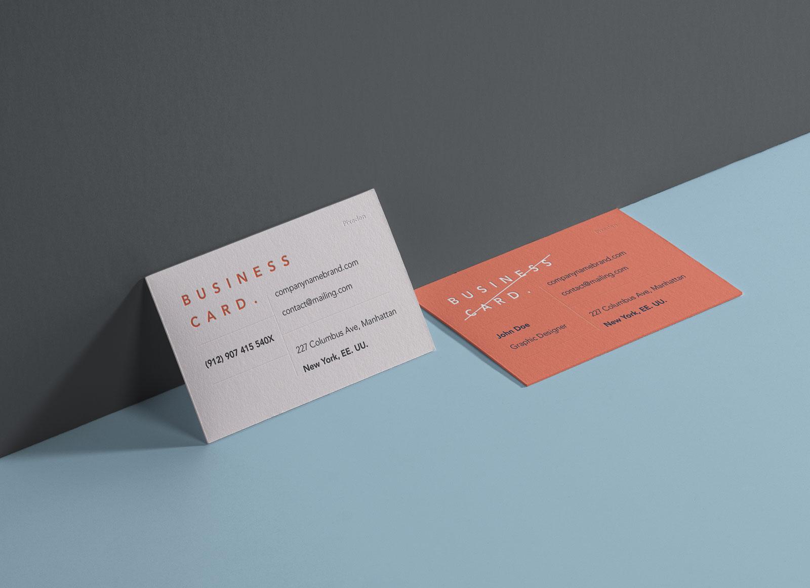 Free-Landscape-Front-&-Back-Business-Card-Mockup-PSD