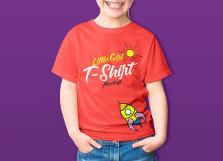 Free-Little-Girl-Kids-T-Shirt-Mockup-PSD