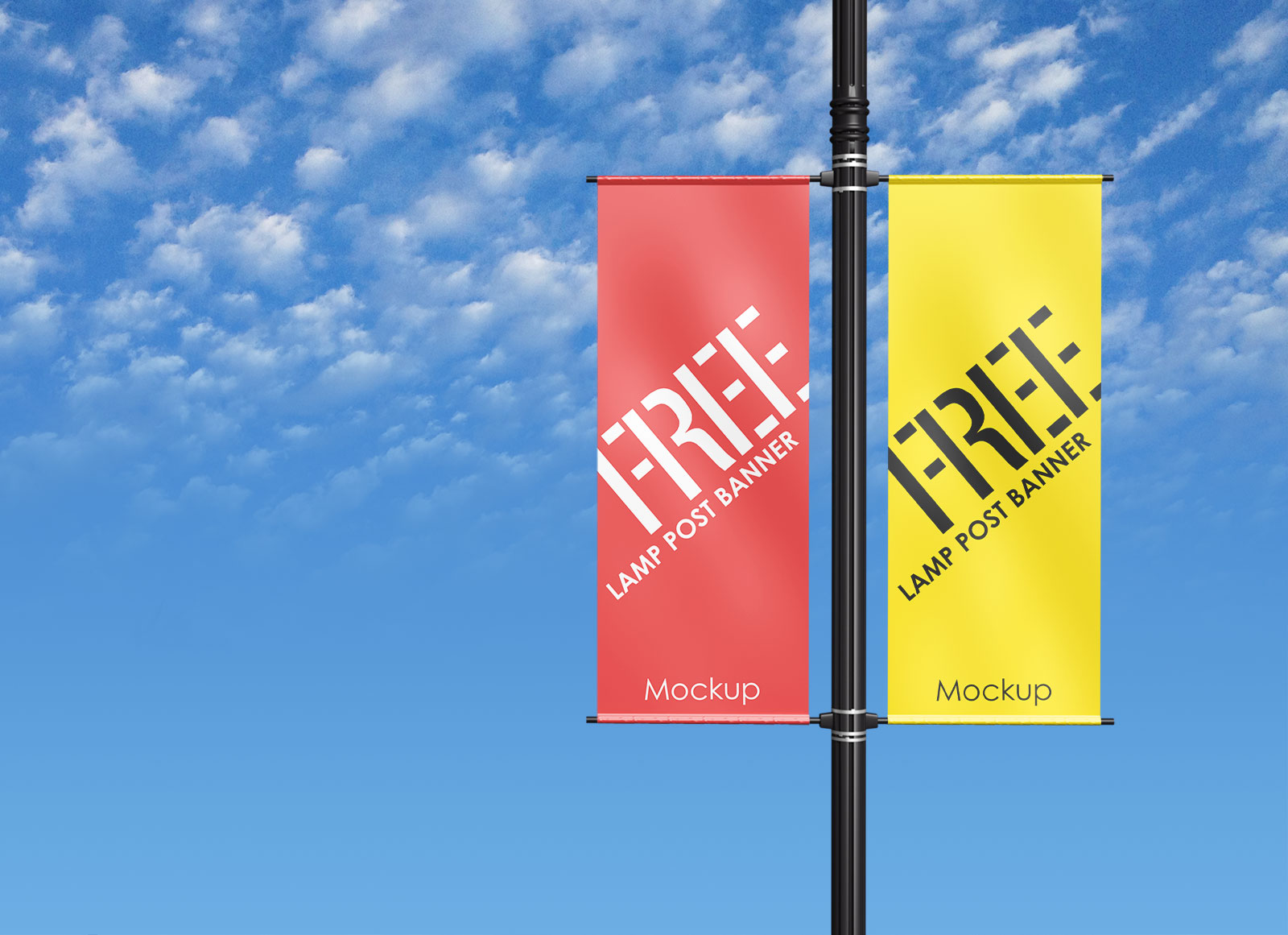 Free Outdoor Advertising Lamp Post Pole Banner Mockup Psd Good