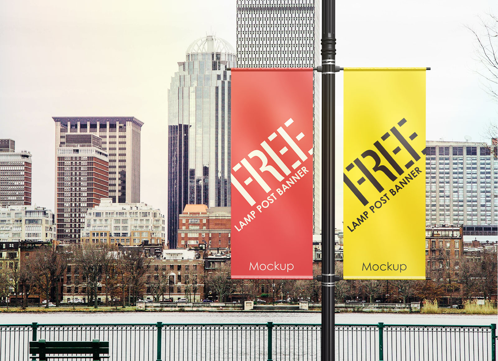 Free-Outdoor-Advertising-Lamp-Post-Banner-Mockup-PSD