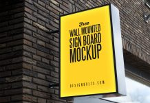 Free-Outdoor-Advertising-Wall-Mounted-Sign-Board-Mockup-PSD
