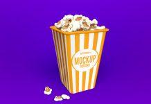 Free Popcorn Box Packaging Mockup PSD Set