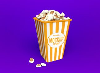 Free Popcorn Box Packaging Mockup PSD Set