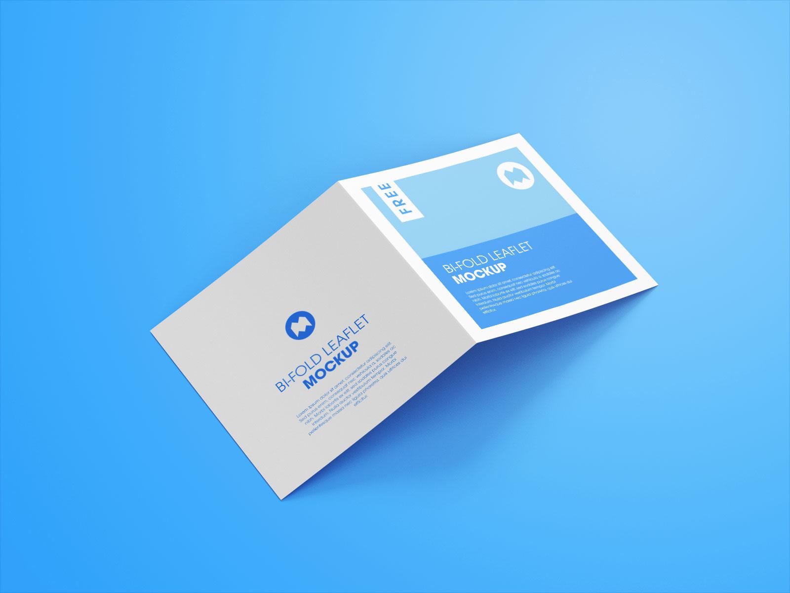 Free Square Bi-Fold Brochure Mockup PSD Set (1)