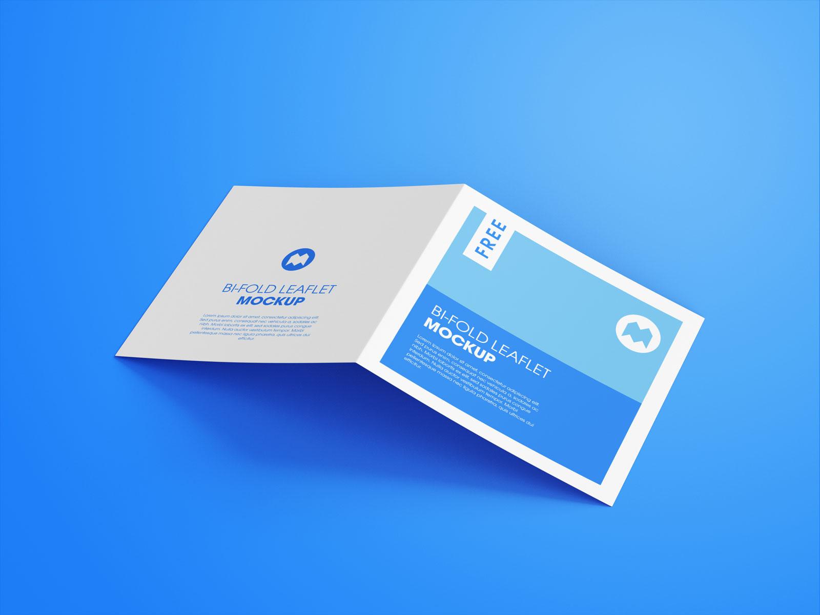 Free Square Bi-Fold Brochure Mockup PSD Set (2)