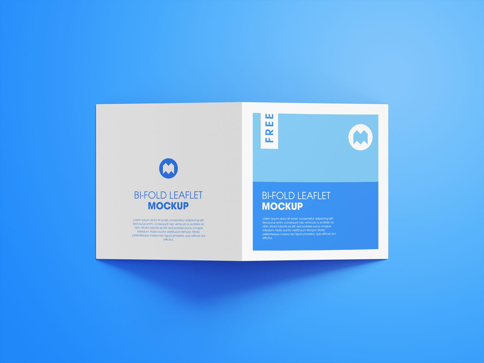 Free Square Bi-Fold Brochure Mockup PSD Set (3)
