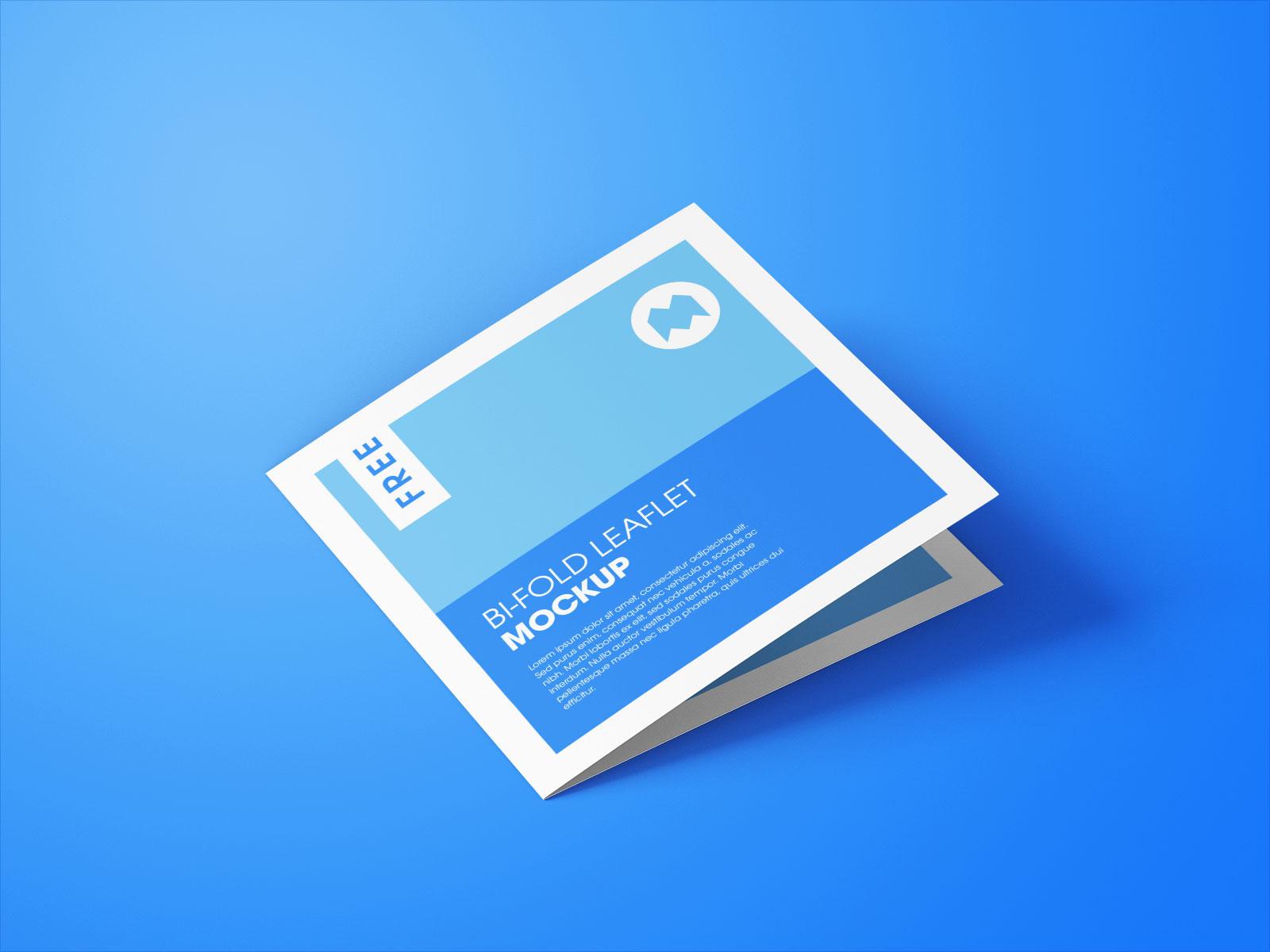Free Square Bi-Fold Brochure Mockup PSD Set (4)