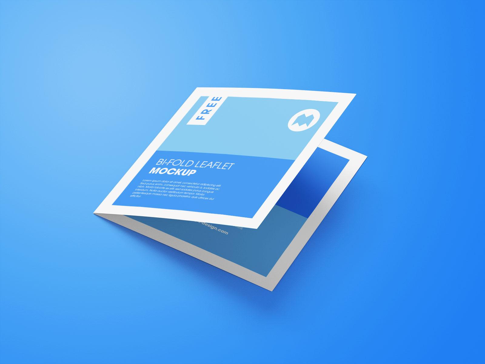 Free Square Bi-Fold Brochure Mockup PSD Set (5)