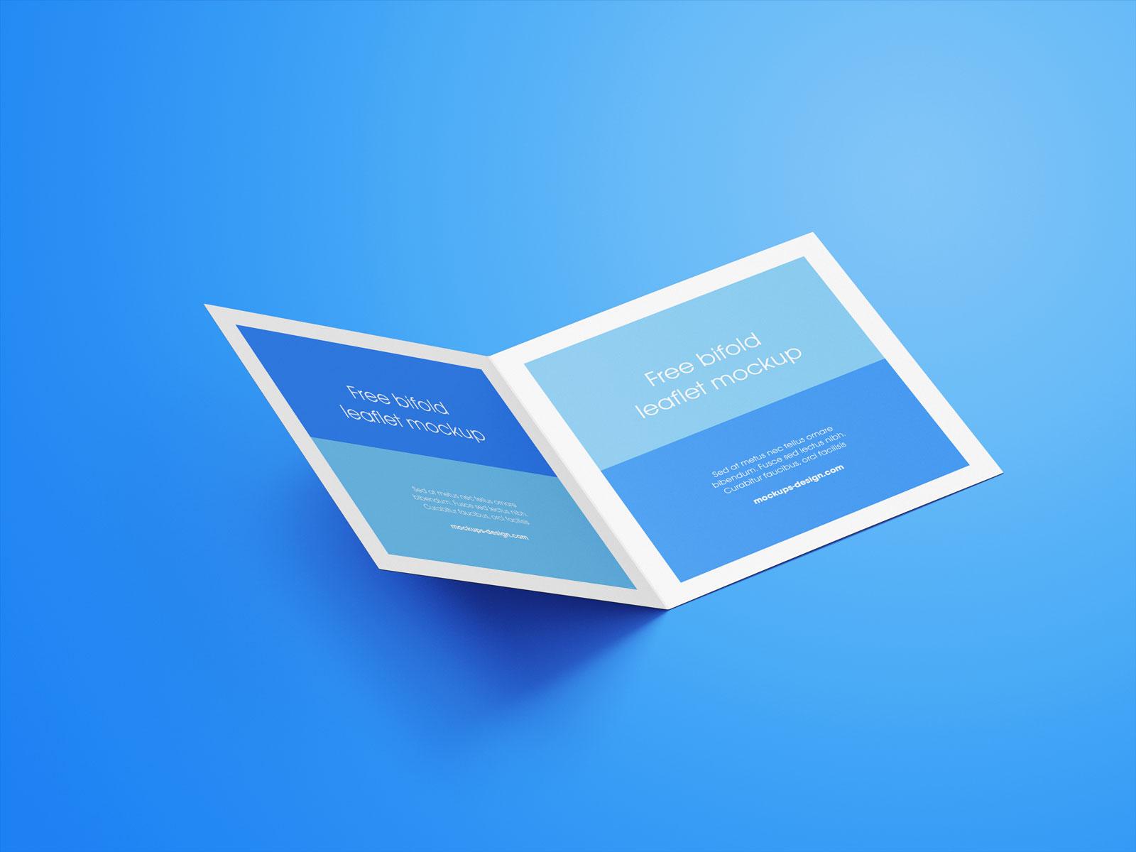Free Square Bi-Fold Brochure Mockup PSD Set (6)