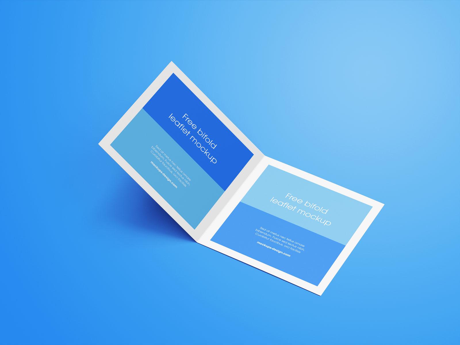 Free Square Bi-Fold Brochure Mockup PSD Set (7)