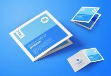 Free Square Bi-Fold Brochure Mockup PSD Set (9)