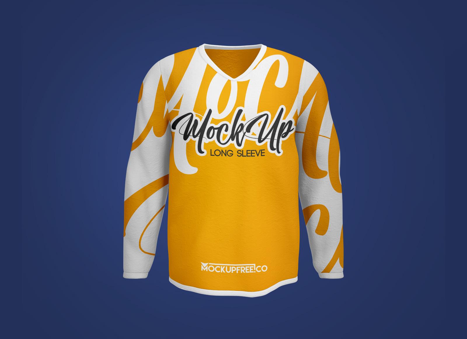 Free-V-Neck-Full-Sleeves-T-Shirt-Mockup-PSD-Set