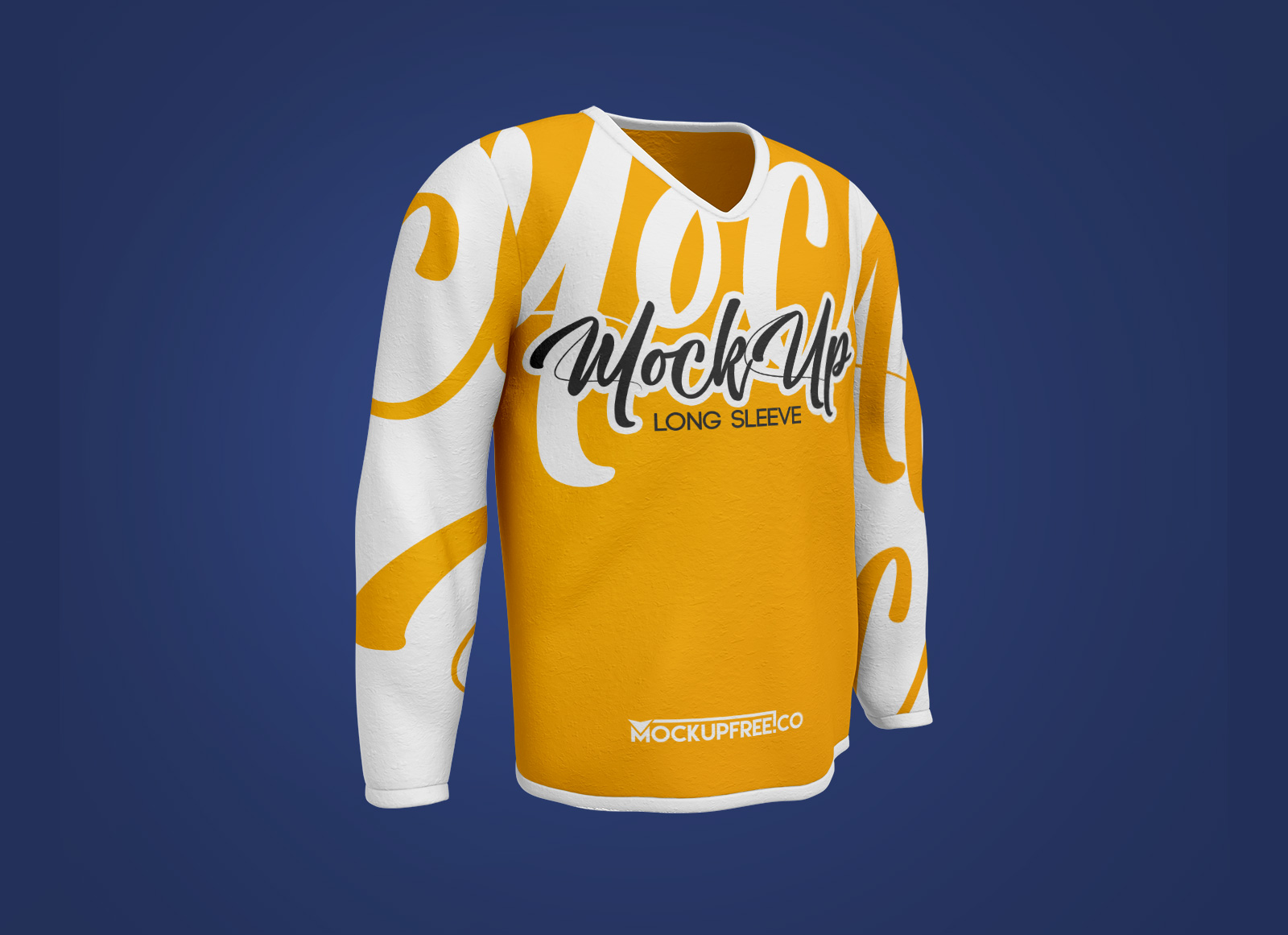 Free-V-Neck-Full-Sleeves-T-Shirt-Mockup-PSD