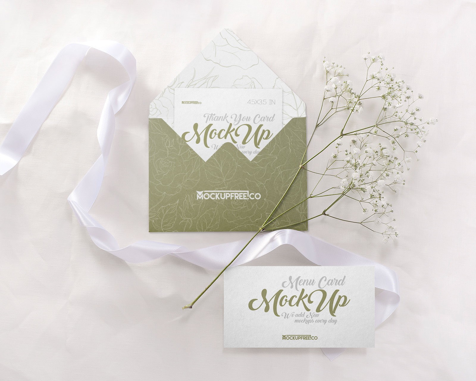 Free Wedding Invitation Card Mockup PSD Set (3)