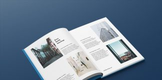 Free A4 Hardcover Magazine Book Mockup PSD Set (4)