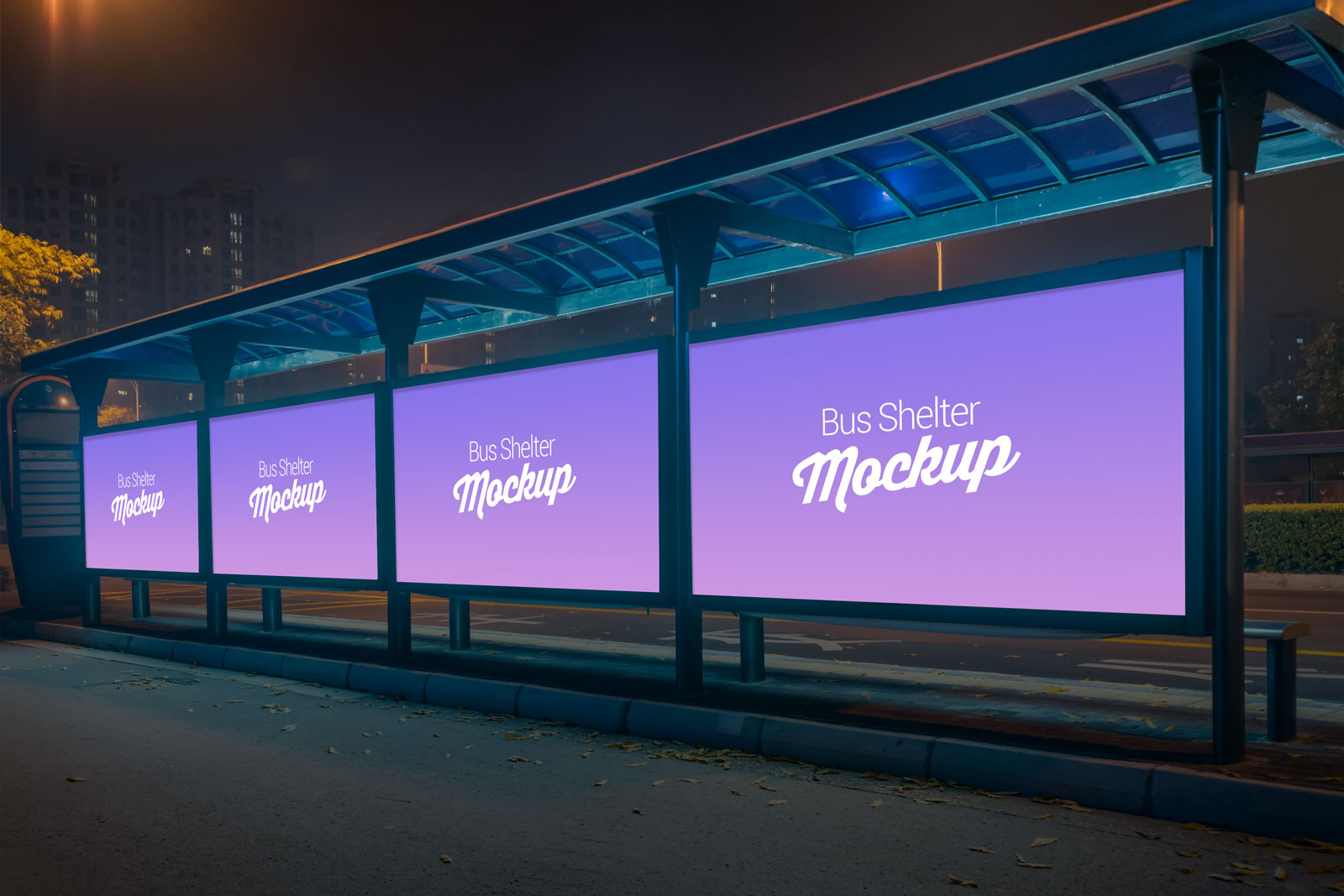 Free-Outdoor-Advertising-Bus-Shelter-Billboard-Mockup-PSD