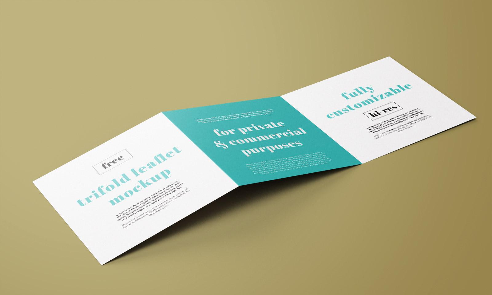 Free Square Tri-Fold Brochure Mockup PSD Set (2)