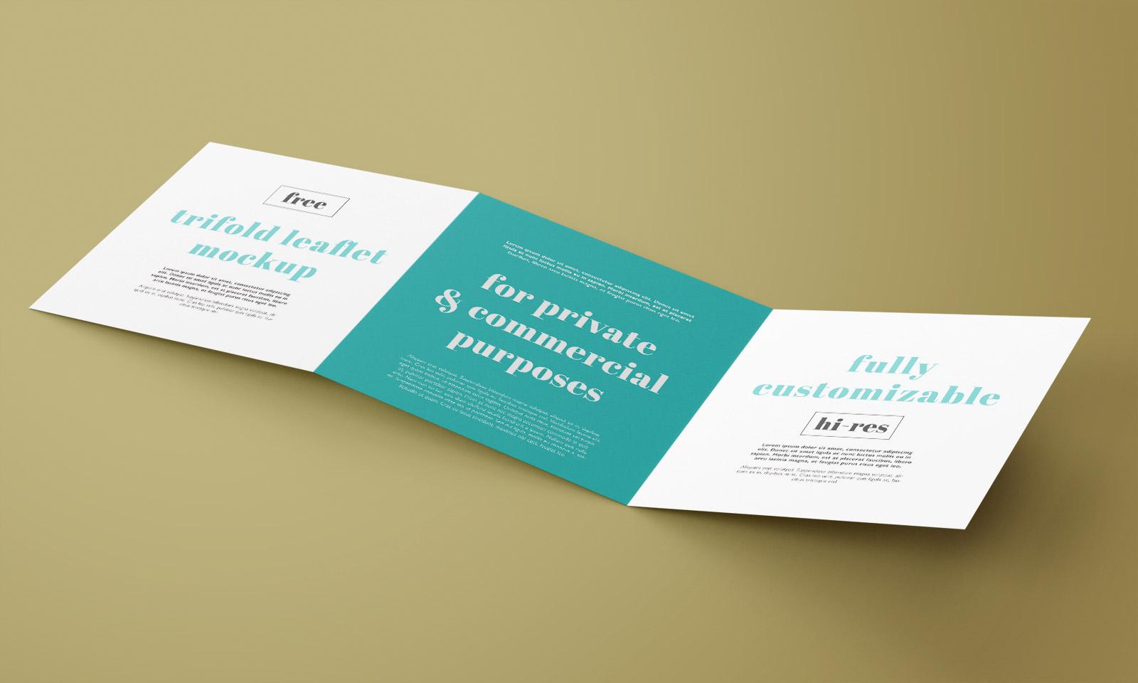 Free Square Tri-Fold Brochure Mockup PSD Set (4)