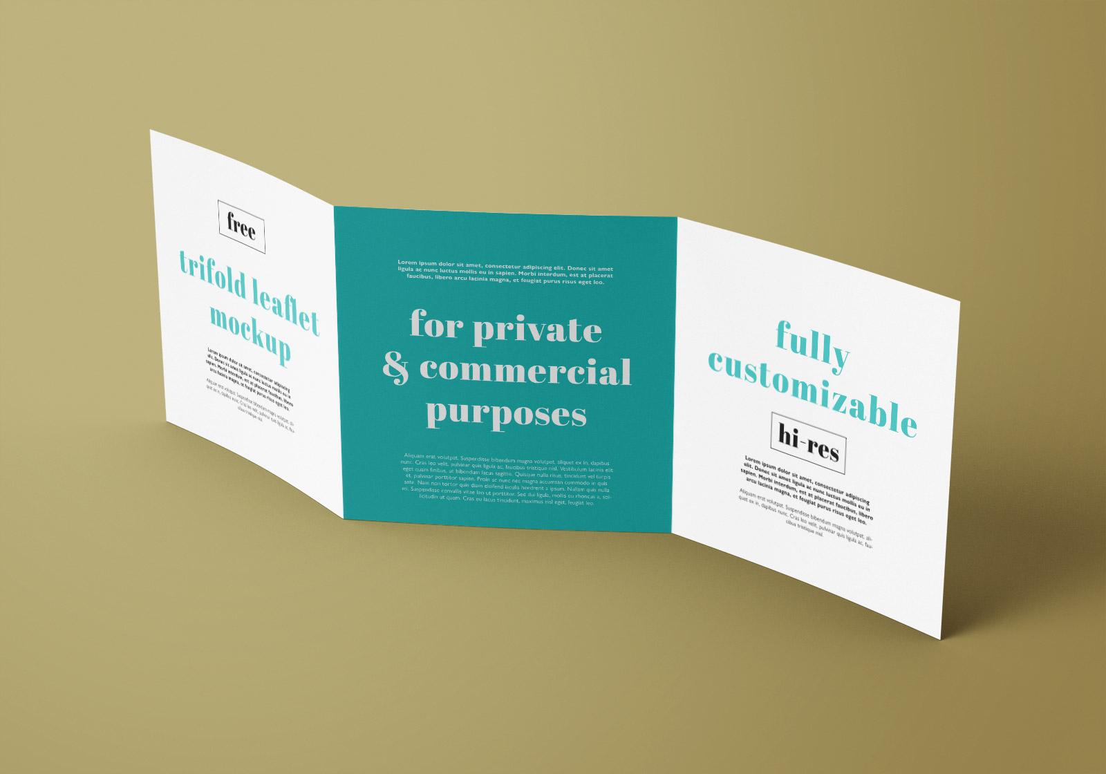 Free Square Tri-Fold Brochure Mockup PSD Set (5)