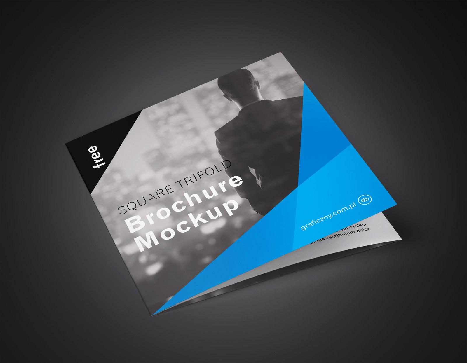 Free Tri-Fold (3 Fold) Square Brochure Mockup PSD Set (1)