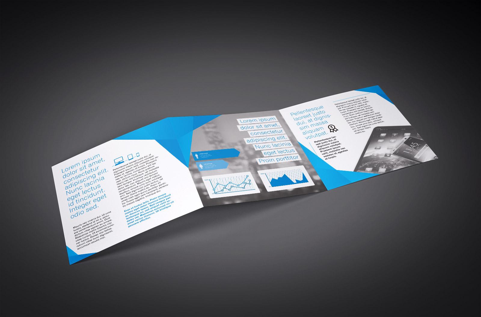 Free Tri-Fold (3 Fold) Square Brochure Mockup PSD Set (2)