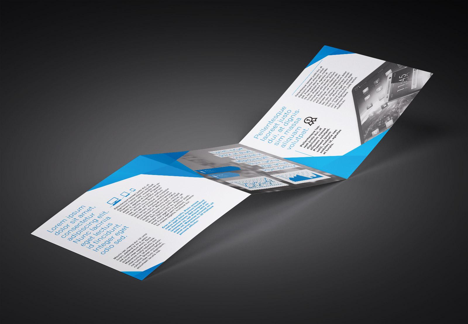 Free Tri-Fold (3 Fold) Square Brochure Mockup PSD Set (3)