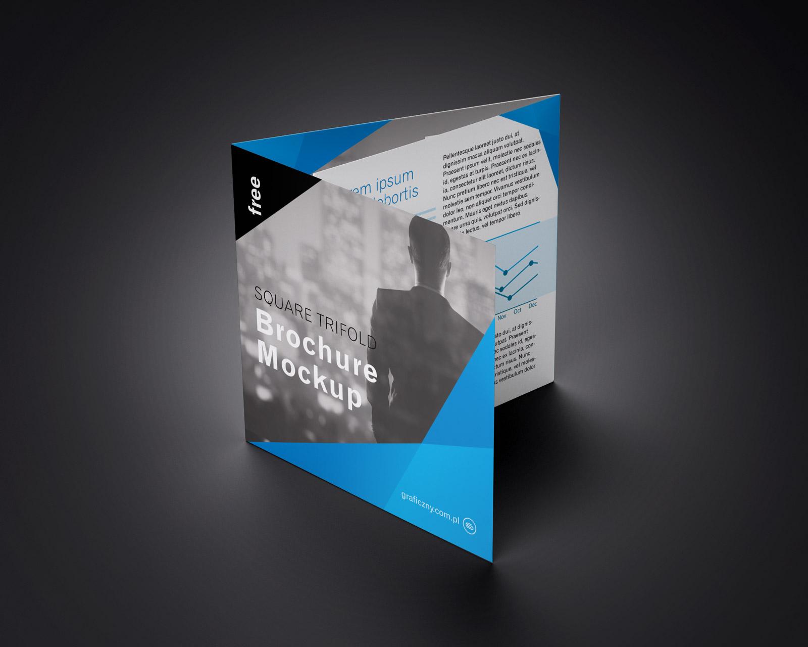 Free Tri-Fold (3 Fold) Square Brochure Mockup PSD Set (4)