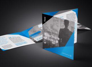 Free Tri-Fold (3 Fold) Square Brochure Mockup PSD Set (5)