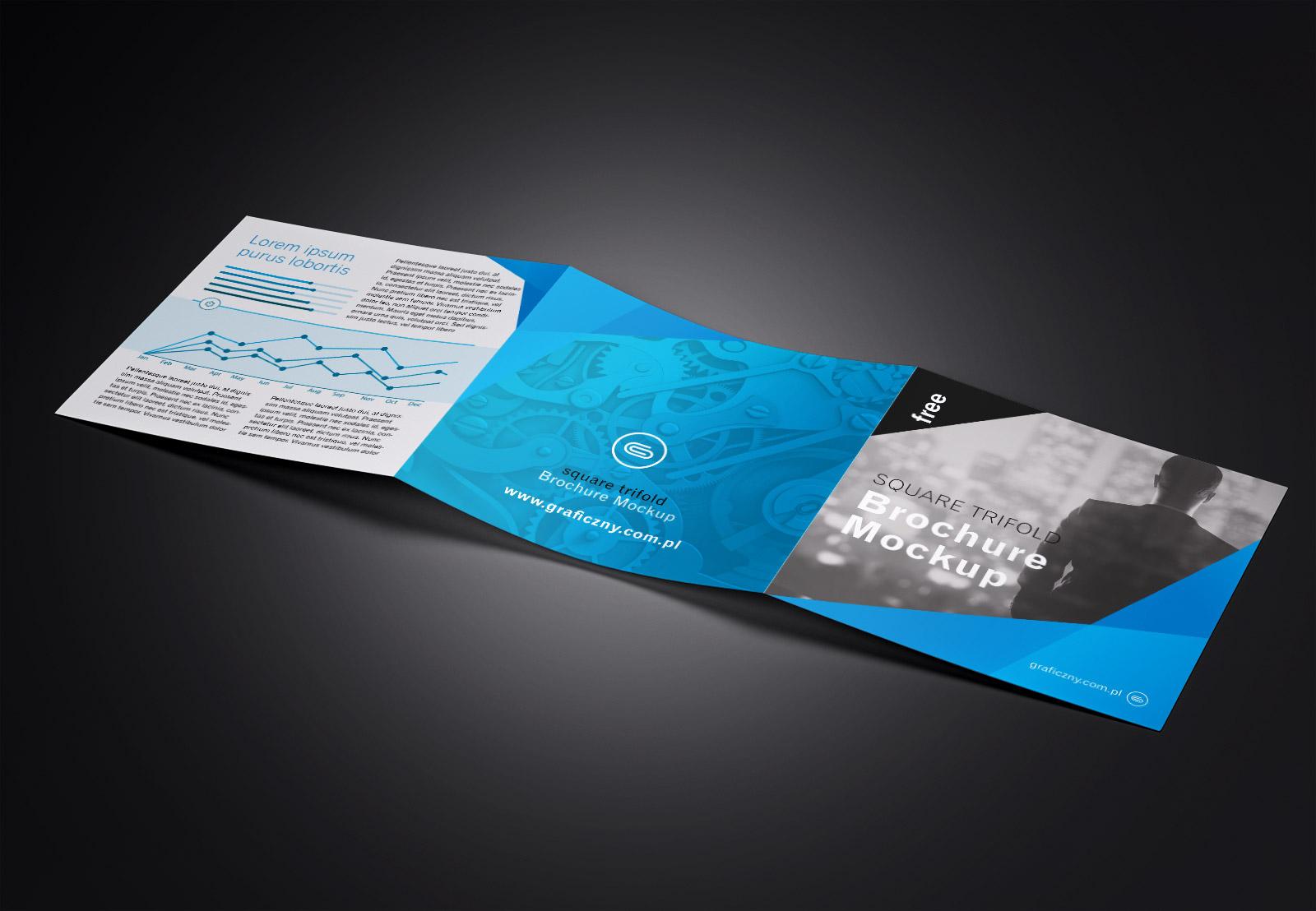 free tri fold 3 fold square brochure mockup psd set good mockups