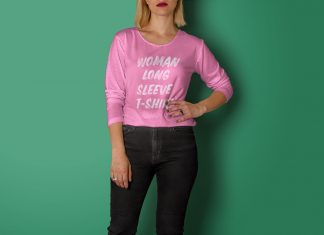 Free-Women-Long-Sleeves-T-Shirt-Mockup-PSD
