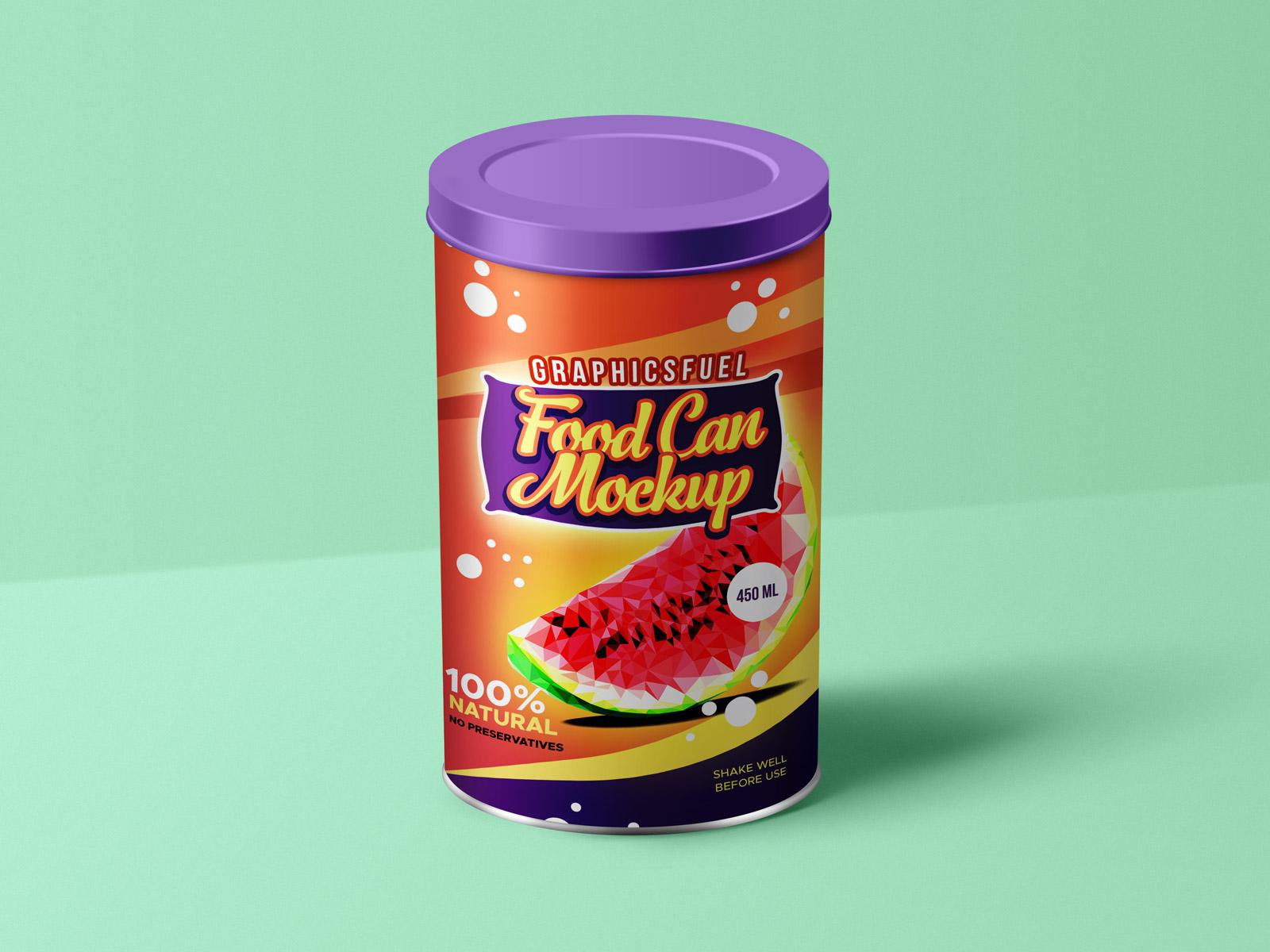 Free Dry Food Tin Can Mockup PSD File