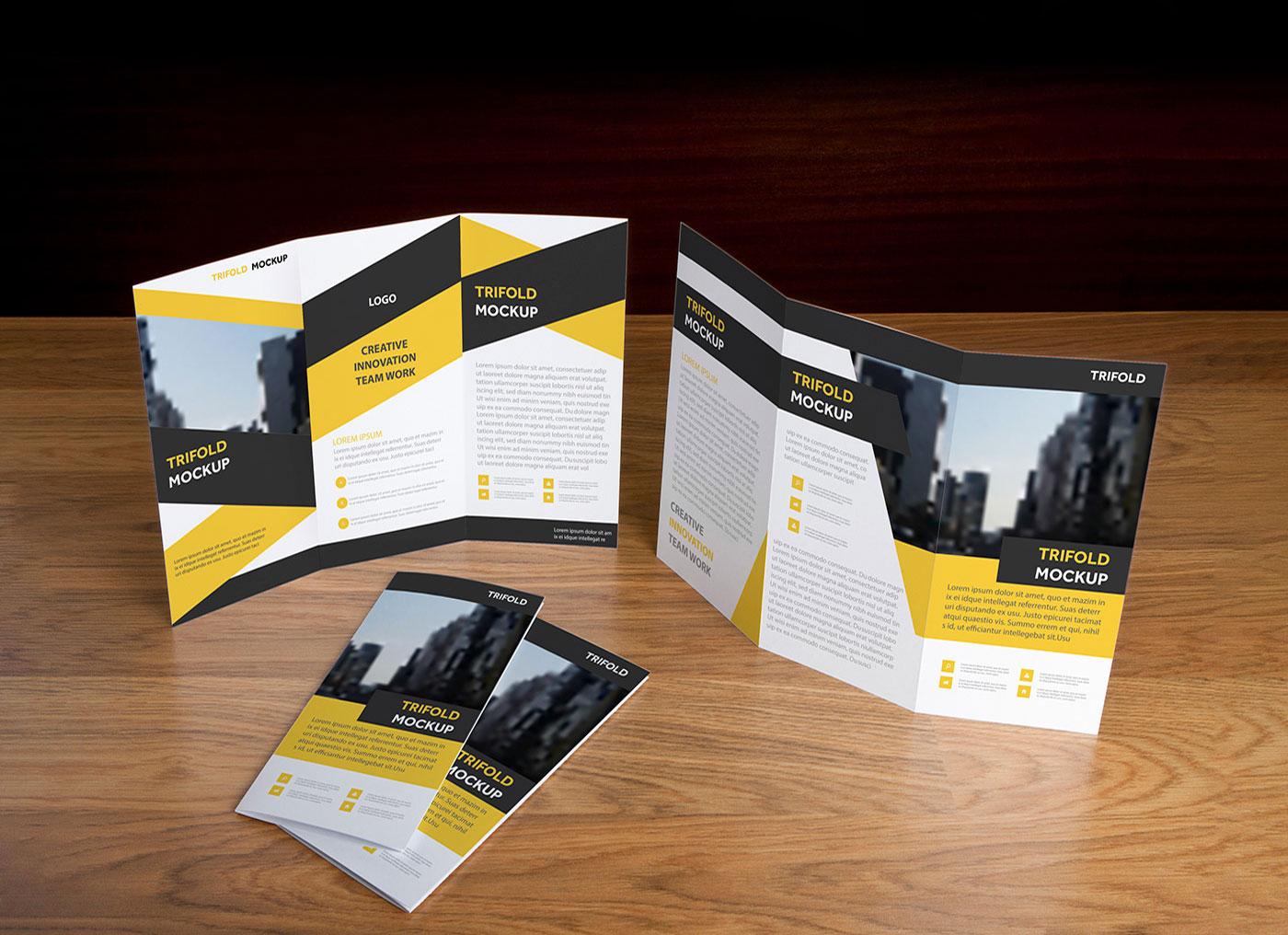 Free-Front-&-Back-Tri-Fold-Brochure-Mockup-PSD-Presentation