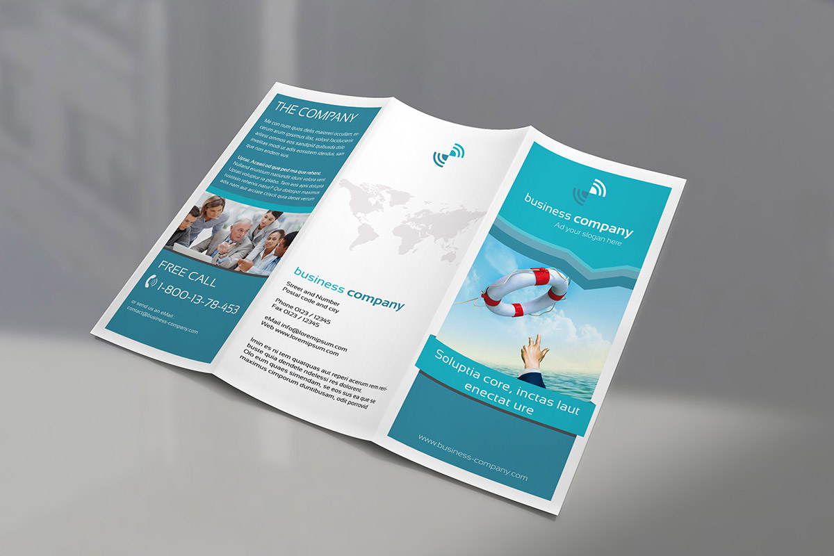 free high quality tri-fold brochure mockup psd set