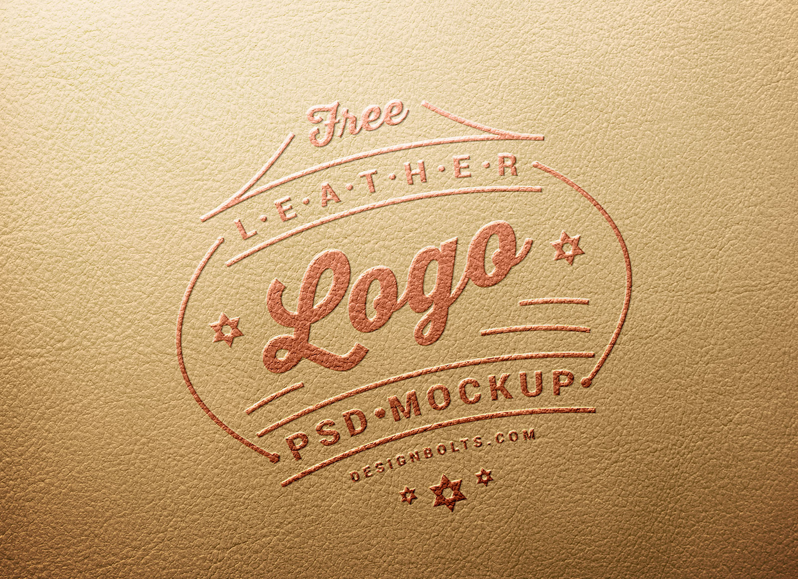 Free Leather Stamping Logo Mockup PSD Embossed